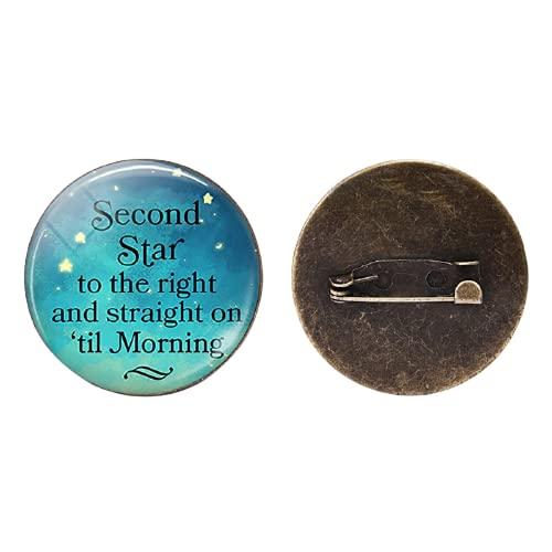 Second Star To The Right - Broches de bronce para cabujón de cristal