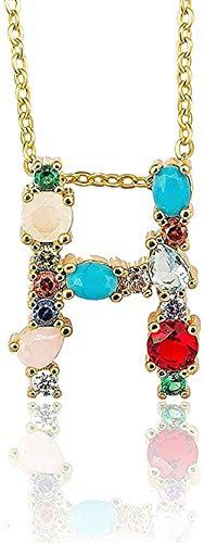 N-G Collar con Colgante Inicial de Color Dorado, Collar de circonita AZ, 26 Letras, Nombre de Personalidad, Accesorios de joyería para Mujeres, Regalo de Novia