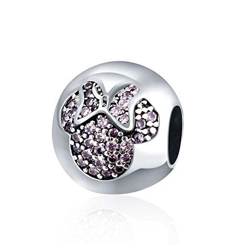 Hmilydyk - Ciondolo con cristalli e zirconia cubica del colore della pietra portafortuna, motivo Minnie, in argento 925, compatibile con braccialetti