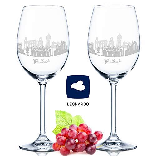 Leonardo Weinglas mit Gravur - Skyline Gladbach im Set - Geschenk für Anspruchsvolle & Weingenießer - Souvenir Andenken Stadt Mitbringsel - Geburtstagsgeschenk Weihnachtsgeschenk