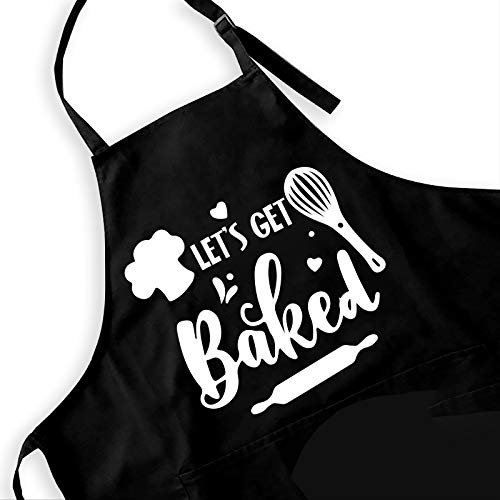 Ihopes Funny Black Baking Apron for Women Teens Baker,Cute Let's Get Baked Baking Apron with 2 Pockets and Adjustable Neck Strap,Perfect for Birthday/Christmas/Thanksgiving, Large