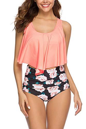 Women High Waisted Swimsuit Flounce Top Ruffled Flounce Swimwear Set Two Piece Bikini with Swim Bottom Bathing Suits (Orange Flower, L)