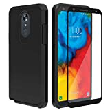 IDEA LINE LG Stylo 5 Case with Tempered Glass Screen Protector,Heavy Duty Protection Hybrid Hard Shockproof Slim Fit Cover - Black