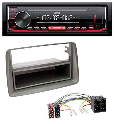 caraudio24 JVC KD-X252 1DIN AUX USB MP3 Autoradio für FIAT Panda (169 2003-2012) grau