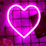 Heart Neon Sign, LED Neon Light Battery or USB Operated Heart Decorative Neon Light, Heart Shape Lamp for Table Bedroom Wall