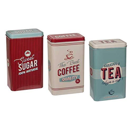 Metall-Dosen 3er Set, Vorratsdosen für Tee, Kaffee und Zucker, rechteckige Dosen aus Metall, Maße: 19 x 11 x 8 cm, stylische Aufbewahrung für Kleinigkeiten und Krimskrams, Kaffeedose, Zuckerdose