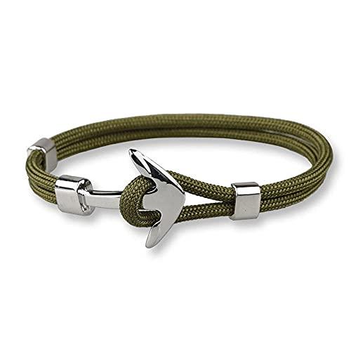 Pulsera para hombre con cuerda verde y ancla marina Malaga