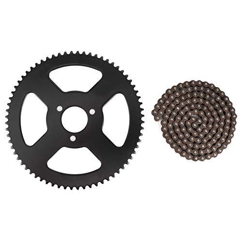 Cadena de dientes 25H Piñón trasero + Cadena 144 eslabones Piñón Eje de 2 tiempos apto para Mini Moto eléctrica Bicicleta de bolsillo ATV Quad Accesorio