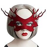 BESTOYARD Negro Máscara de Encaje con Cuerno para Fiesta de Halloween Cumpleaños para Mujer Decoración del Fiesta Rojo