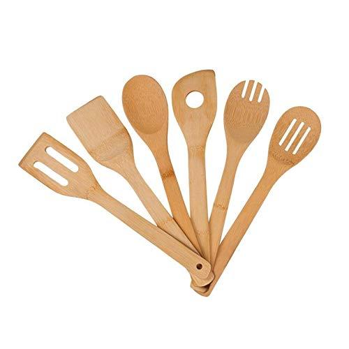 YuuHeeER Ustensiles de cuisine en bambou bio anti-adhésifs Cuillère en bois