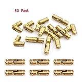 50-Pack Brass Concealed Hinge DIY Jewelry Box Furniture Hand Craft Golden,Hidden Hinge (0.98'x0.2' (25x5mm))
