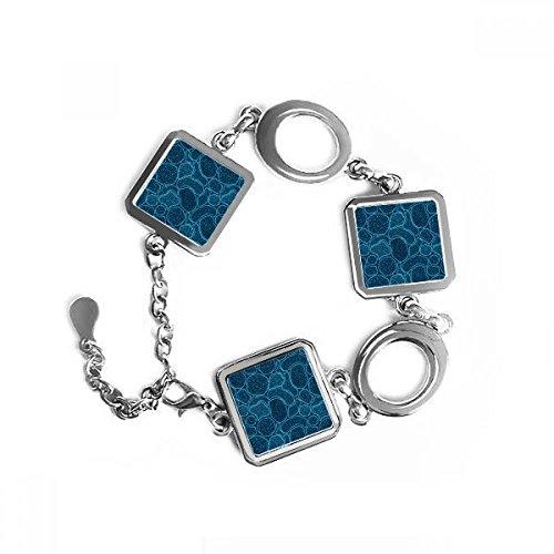 DIYthinker microscopio Azul células Estructura ilustración biológica Forma Cuadrada de Metal Pulsera Amor Regalos de joyería con la decoración de la Cadena