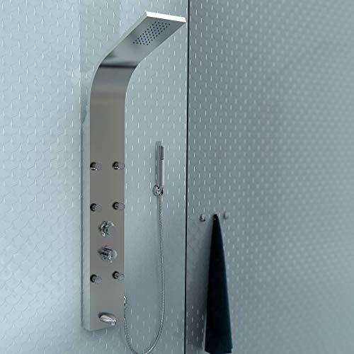 EISL ORSP-YMSV VITAL Edelstahl-Duschpaneel, Wellness Duschsäule mit Einhebelmischer und Wanneneinlauf, Duschsystem mit Regendusche, Massagedüsen und Handbrause