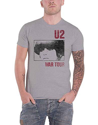 U2 T Shirt War Tour Band Logo Nue offiziell Herren Grau