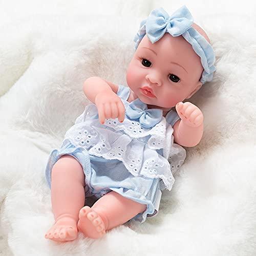 XXBJFMY 30Cm Simulación Baby Reborn Doll, Bebes Reborn Silicona Blanda, Nicery Reborn Baby Doll para Niños En La Vida Real,Azul,A