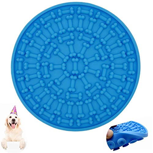 Affordable Glumes Dog Lick Pad, Peanut Butter Lick Mat Dog Washing Distraction Device,Slow Treat Dispensing Mat with Super Suction,Slow Feeder Lick Mat for Pet Bathing, Grooming, and Dog Pet Training (Blue)