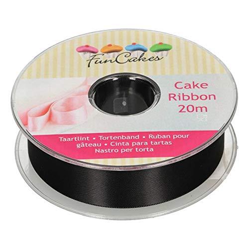 FunCakes FC3101 Tortenband-in der Farbe Schwarz-25mm Breite-20m Länge-zur Veredelung ihrer Kuchen und Torten, Papier