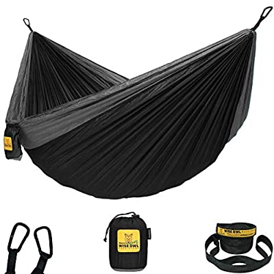 Wise Owl Outfitters Hammock for Camping Single & Double Hammocks Gear for The Outdoors Backpacking Survival or Travel - Portable Lightweight Parachute Nylon SO Black & Grey