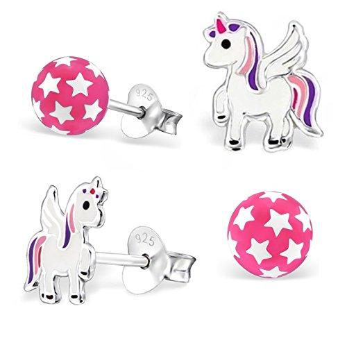 GH* KIDS 2 PAAR Ohrstecker Pink Sterne Kugel + Pegasus Einhorn 925 Echt Silber Mädchen Kinder Pferde Ohrringe