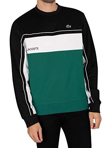 Lacoste Herren SH9569 Sweatshirt, Männer Pullover,sportlicher Sweater,Regular Fit,Schwarz,2