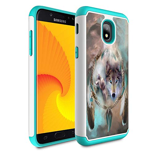 Galaxy j3 2018/J3 Achieve/Express Prime 3/j3 Star/J3 V 3rd Gen 2018/j3 Orbit case,Skyfree Heavy Duty Dual Layer Bumper Protective Phone Case for Samsung Galaxy J3 2018,Wolf Dream Catcher