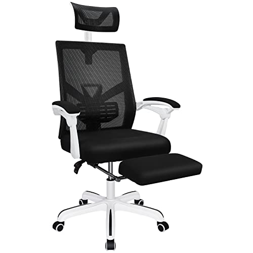 Ergonomic Office Chair, 155° Reclining High Back Mesh Office Chair with Footrest, Large Seat & Linkage Armrest, Adjustable Swivel Computer Desk Chair, White