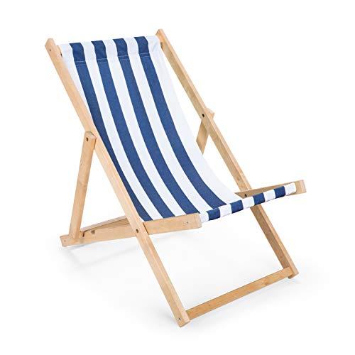 IMPWOOD Gartenliege aus Holz Liegestuhl Relaxliege Strandliege Holzliege (Blau-Weiß gestreift)