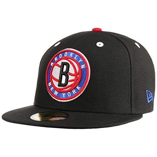 New Era 59Fifty Exclusive Brooklyn Nets Cap Basecap Baseballcap Flat Brim NBA Fitted (8 0/0 (63,5 cm) - schwarz)