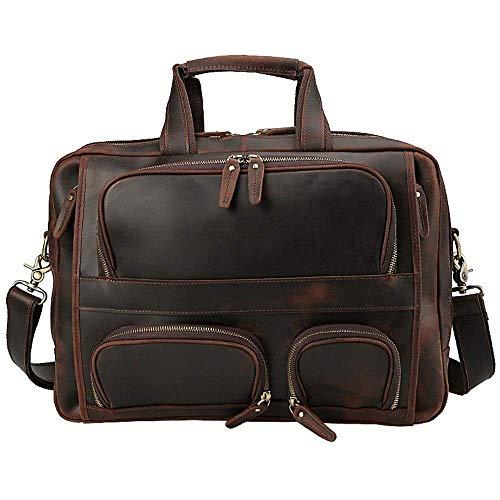 Maletín de cuero retro Maletín de cuero Bolsa de hombre gran capacidad 17 pulgadas bolsa de computadora portátil bolso de hombro bolso de negocios con correa gruesa estilo casual de la vendimia Dirgee