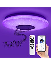 Deckey LED plafondlamp, dimbare afstandsbediening of APP, ster plafondlamp met bluetooth speaker, slaapkamerlamp, kinderkamerlamp, woonkamerlamp, wandlamp 32W, Ø 39 cm