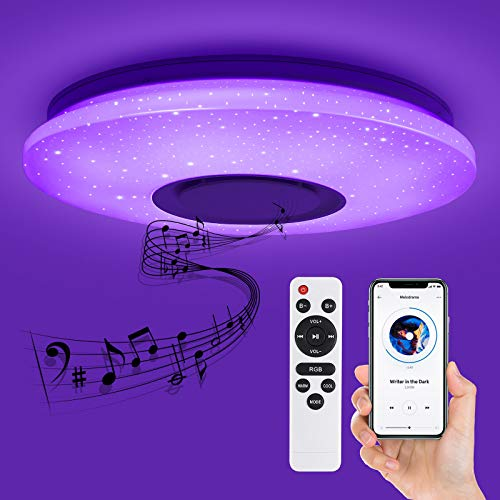 Deckey Plafoniera LED Dimmerabile, Lampada da Soffitto con Altoparlante Bluetooth, Plafoniera a Forma di Stella 32 W, Lampada Musicale con Cambio Colore, Telecomando e Controllo APP, Ø 39 cm