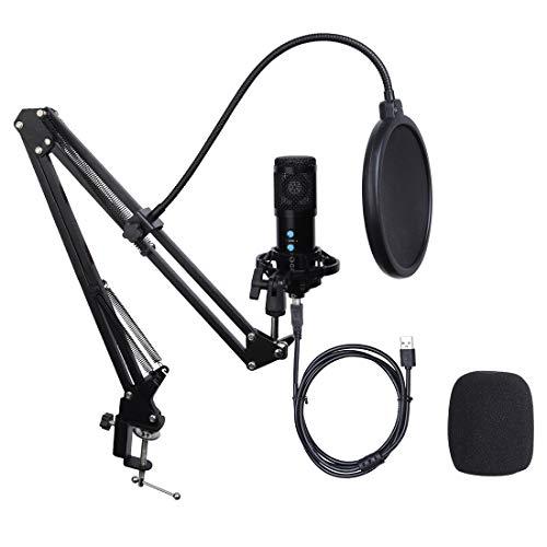 Micrófono de Condensador USB Kit Grabación Patrón Polar Cardioide con Soporte de Brazo para Grabar Música Video Podcast Transmisión en Vivo Juegos Chat Karaoke