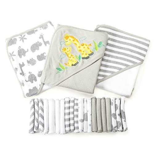 Spasilk 23-Piece Essential Baby Bath Gift Set – Hooded Baby Towels & Washcloths – Newborn Boy or Girl – Baby...