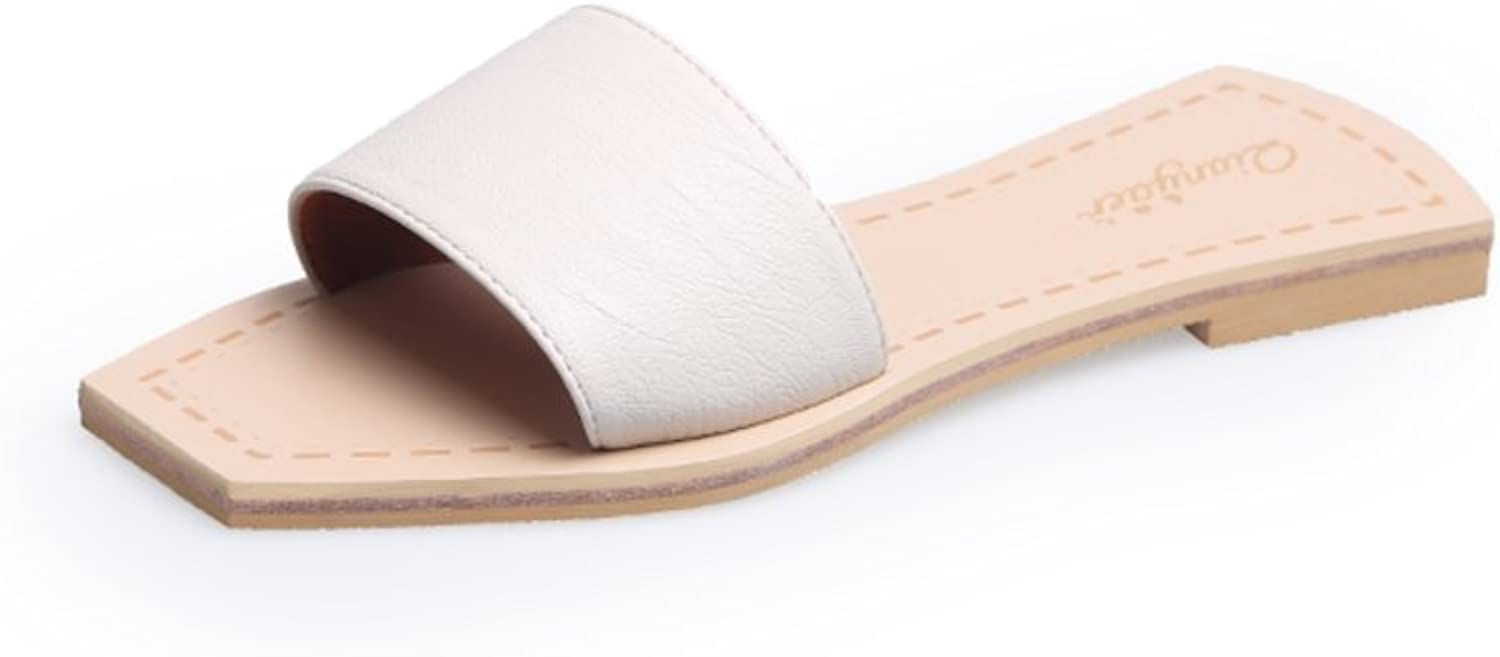 MET RXL Square Head,Flat and Cool Slippers Lady,Summer,Simple,Open Toe,Flat,A-line Slipper