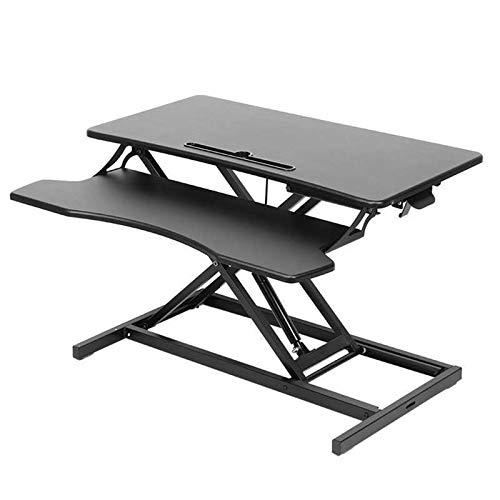 HERVI Es klappt Höhenverstellbarer Stehpultkonverter für Büroarbeitsplätze, Ergonomisches Tiefes Tastaturfach, Schwarz für Kinder und Erwachsene
