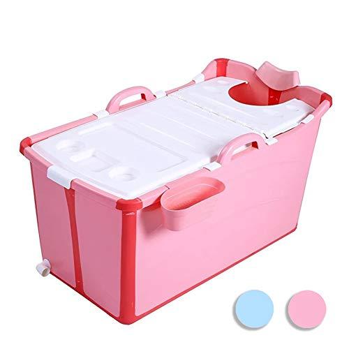 N / A LINLINZ Bañera Plegable, Portátil Bebé El Plastico Cubo De Baño Ahorro De Espacio con Cubierta por 0-15 Años Adulto, Los 81x42x44cm (Color : Pink)