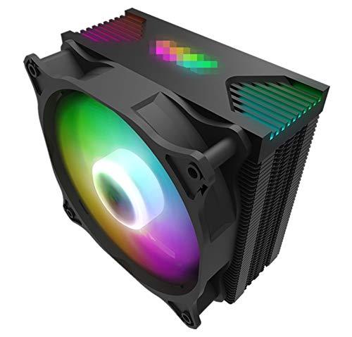 MiaoMiao CPU Cooler Aura Sync ARGB Lights 4 HEATPIPES 120 MM Silent PWM Fan RGB HEATSINK CPU Radiador de enfriamiento LGA 1155 / AM4 AMD Service (Blade Color : Darkair argb Ver)