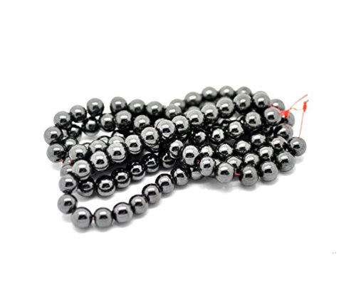 jennysun2010 4mm Natural Magnetic Hematite Gemstone Round Ball Beads 15.5'' Inches Jet Hematite 1 Strand for Bracelet Necklace Earrings Jewelry Making Crafts Design Healing
