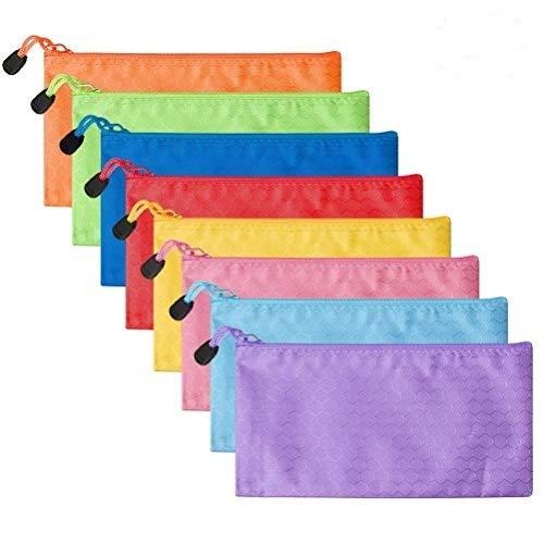 Bolsas de documentos A6 con cremallera, estuches portatodo para lápices, tamaño carta, 16 piezas, (8 colores), de Kuou.