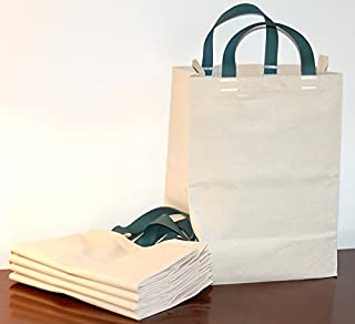 Turtlecreek Made in USA Cotton Canvas Reusable Grocery Tote Bags - Short Blue-Silver Handles - Regular Size - 5 Pack