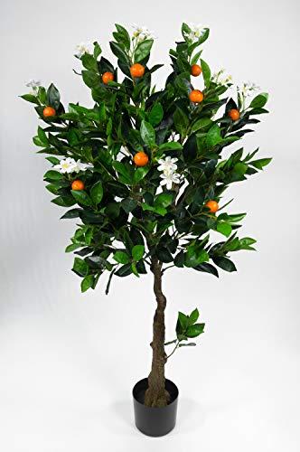 Seidenblumen Roß Orangenbaum mit Blüten 120cm LA künstlicher Baum Kunstbaum Kunstpflanzen Mandarinenbaum