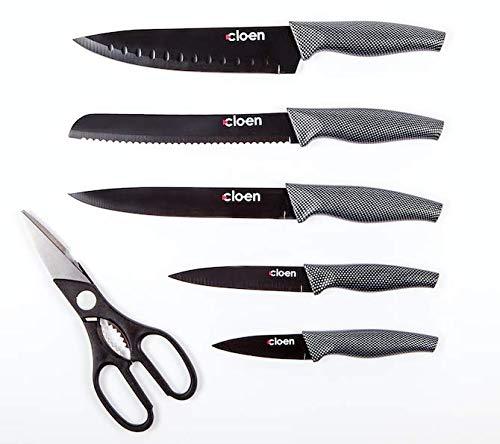 Set Cuchillos de 6 piezas - Modelo Phoenix - 5 cuchillos de acero inoxidable con recubrimiento cerámico y 1 Tijeras de cocina multiuso de acero inoxidable. by Cloen, cuchillos Cloen