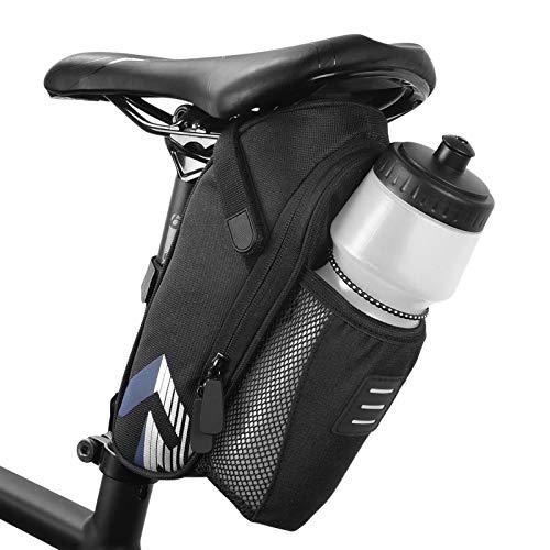 Roeam Alforjas Bicicleta Impermeable,Bolsa sillin de Bicicleta MTB con Bolsa para hervidor y Cursor inverso,Fácil de Instalar,Negro