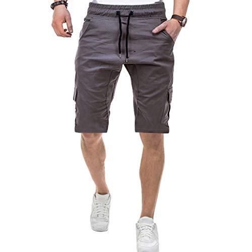 Ginli Pantaloni Corti Bermuda Cargo Pantaloncini Uomo Cotone Lavoro Pantaloni Tasconi con Elastico Pantofole Uomini Estive Casual Pantaloncino Sportivi (M, Grigio)