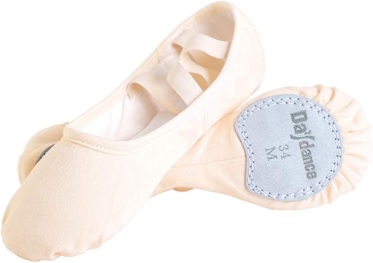 Daydance Beige Elastic Canvas Ballet Shoes/Slippers for Women, Girls