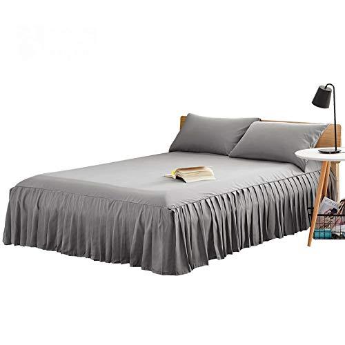 CQZM Modern Einfach Bettvolant Babybett Mit Rüschen Staubdicht Bettrock Tagesdecke Single Double Bed Skirt Schlafzimmer Queen Kingsize Bett Röcke Grau WeißA-120x200cm(47x79inch)