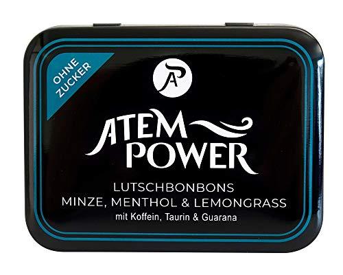 Atempower Lutschbonbon, Energy Bonbons mit Koffein Taurin Guarana Größe 60g Dose