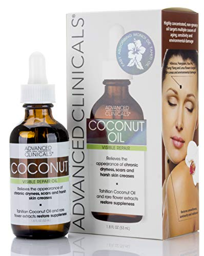 Advanced Clinicals Coconut Oil for Skin. Repair Coconut Oil for Face, Body and Hair. For Chronic Dryness, Scars, Stretch Marks and Harsh Skin Creases. (1.75oz)