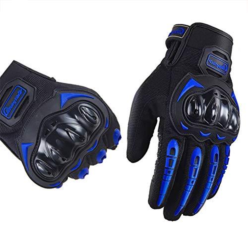 ARTOP Guantes Moto Motocross Verano Anti-Deslizante Anti-Colisión con Dedo Táctil Muy Buena Protección para Hombres (Azul, L)