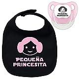 Pack chupete y babero Pequeña princesita, bebé parodia Leia. Chupete friki....